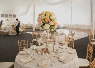 Wedding table setting marquee